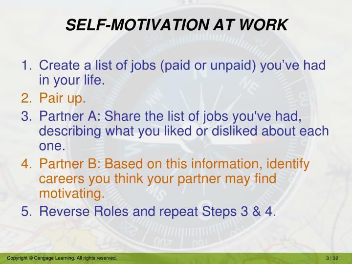 SELF-MOTIVATION AT WORK