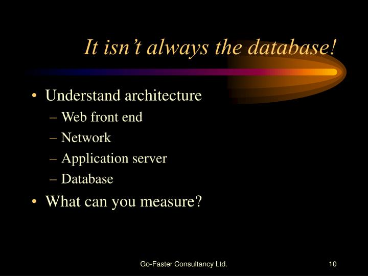 It isn't always the database!