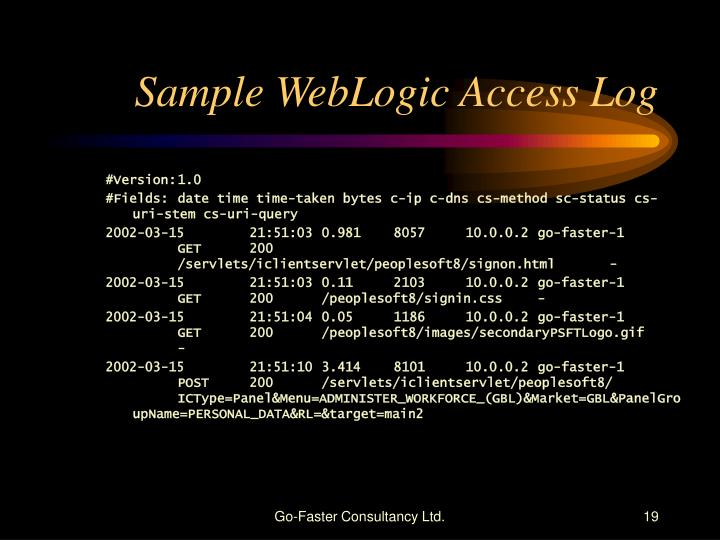 Sample WebLogic Access Log
