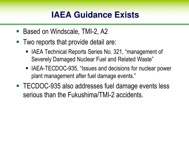 IAEA Guidance Exists