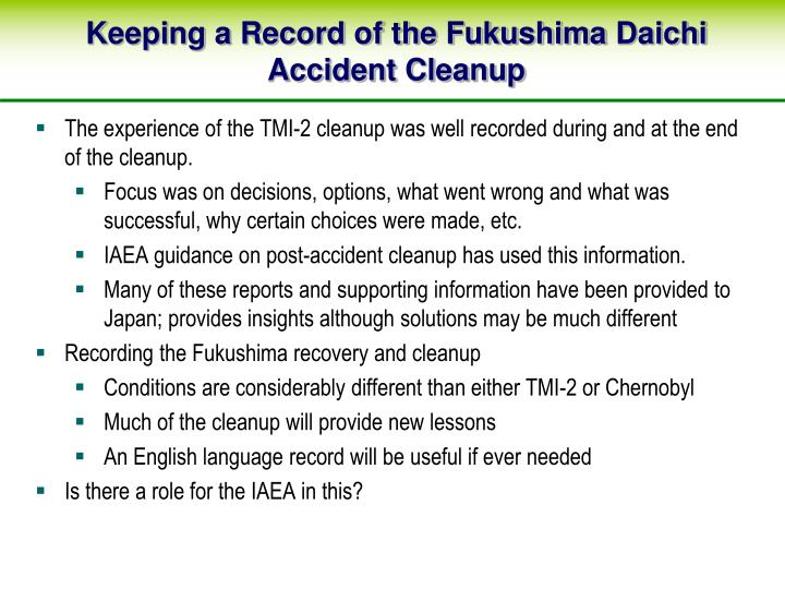 Keeping a Record of the Fukushima