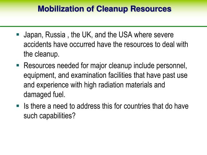 Mobilization of Cleanup Resources