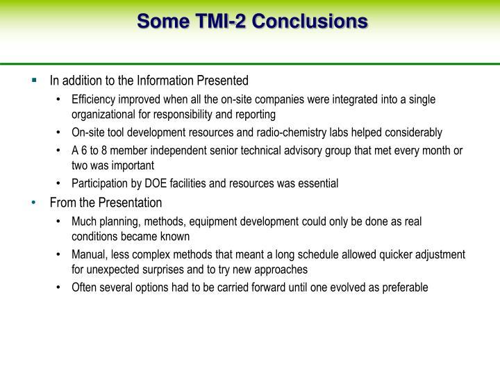 Some TMI-2 Conclusions