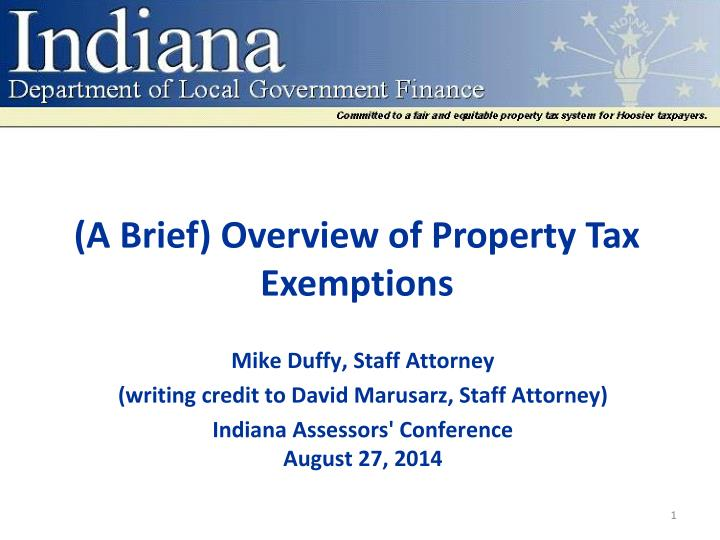 Indiana Code Property Tax Exemptions