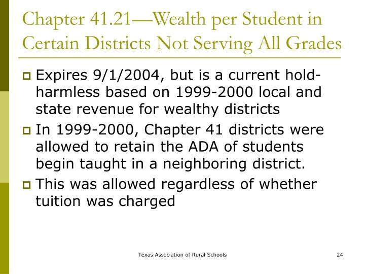 Chapter 41.21—Wealth per Student in Certain Districts Not Serving All Grades