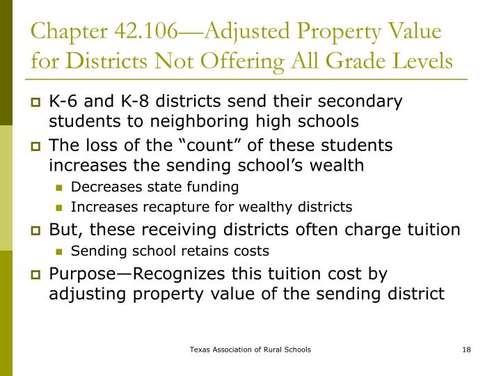 Chapter 42.106—Adjusted Property Value for Districts Not Offering All Grade Levels