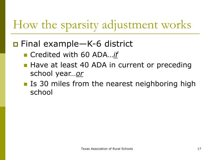 How the sparsity adjustment works