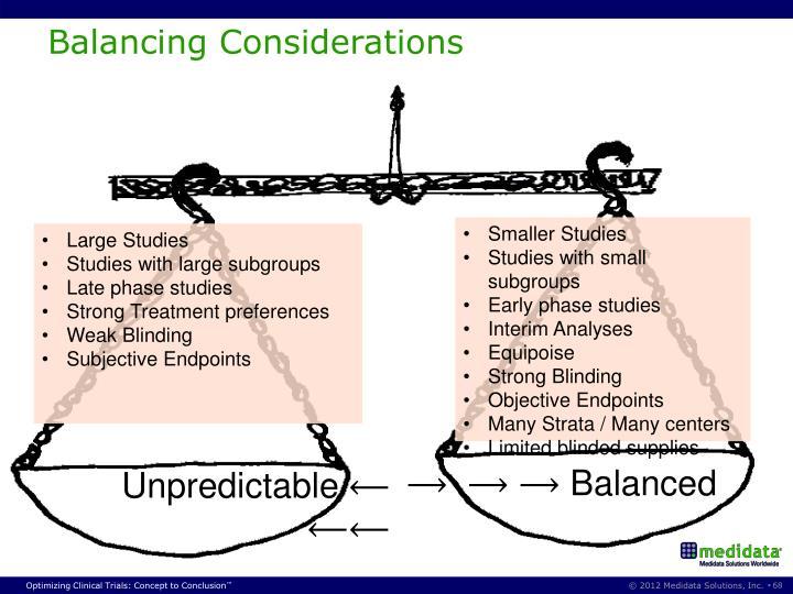 Balancing Considerations