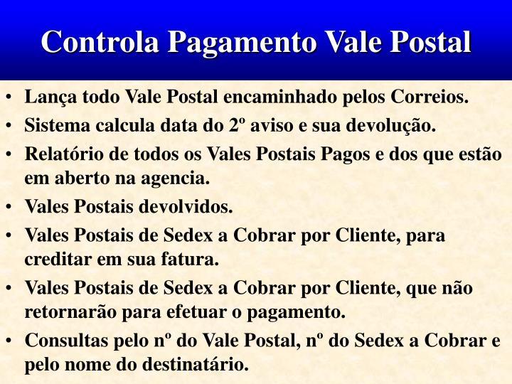 Controla Pagamento Vale Postal