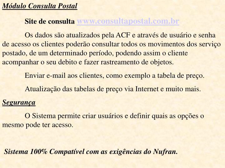 Módulo Consulta Postal
