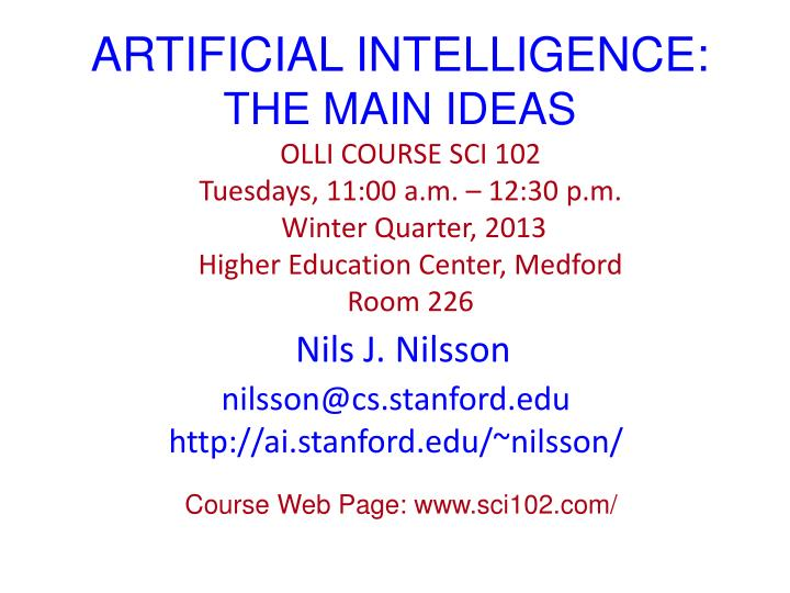 Artificial intelligence the main ideas