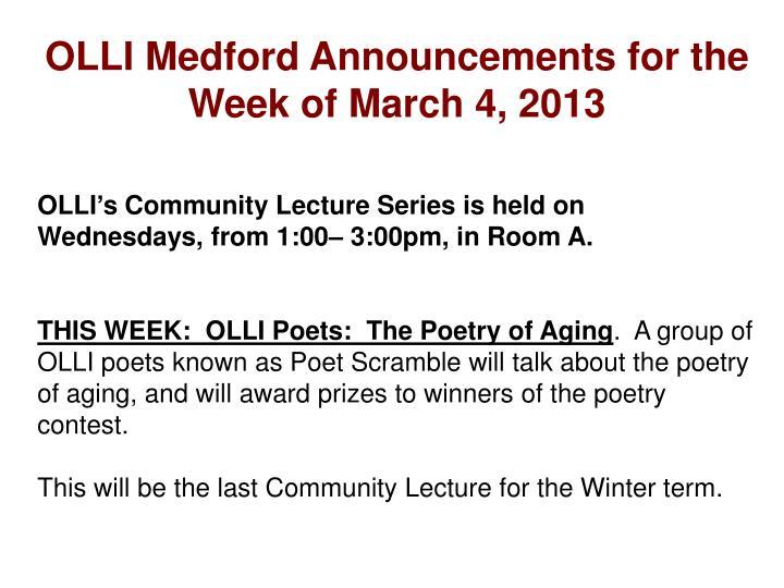 OLLI Medford Announcements