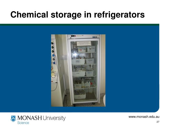 Chemical storage in refrigerators