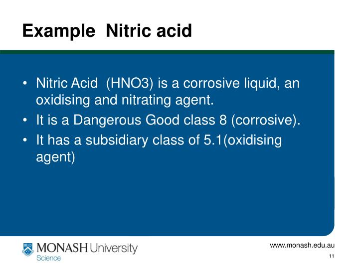 Example  Nitric acid
