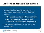 labelling of decanted substances