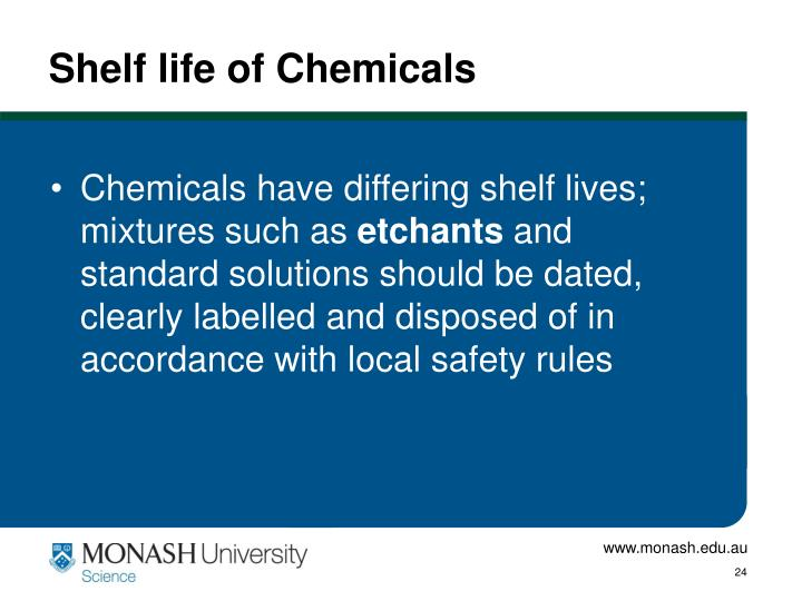 Shelf life of Chemicals