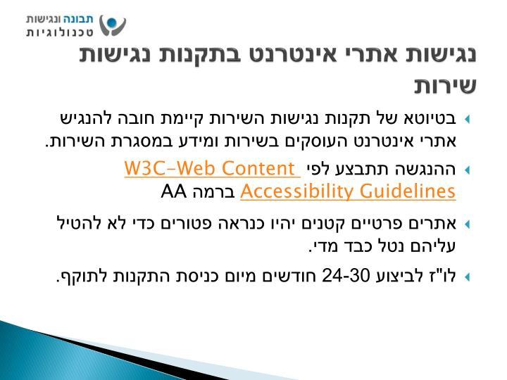 נגישות אתרי אינטרנט בתקנות נגישות שירות
