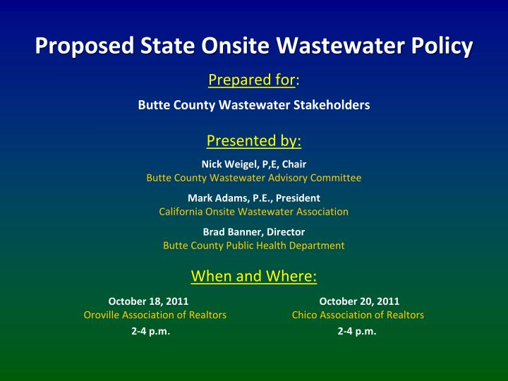 Proposed State Onsite Wastewater Policy