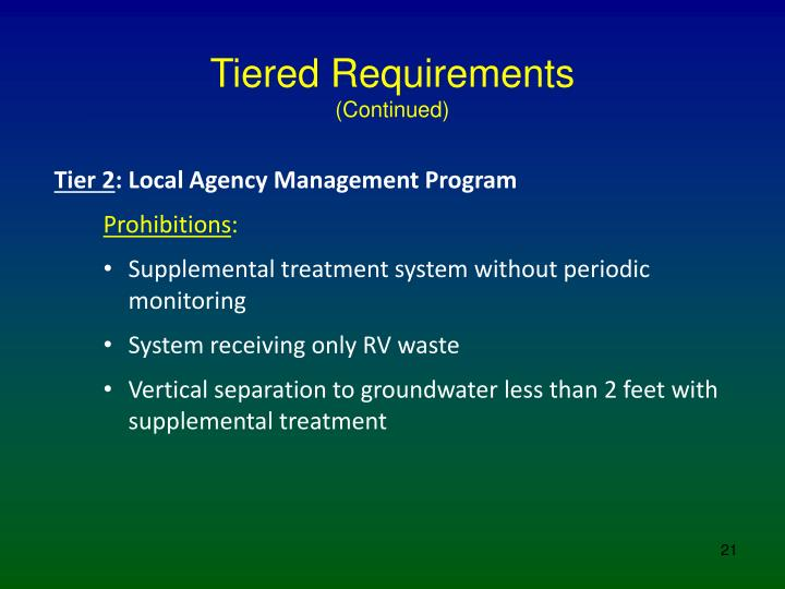 Tiered Requirements