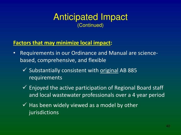 Anticipated Impact
