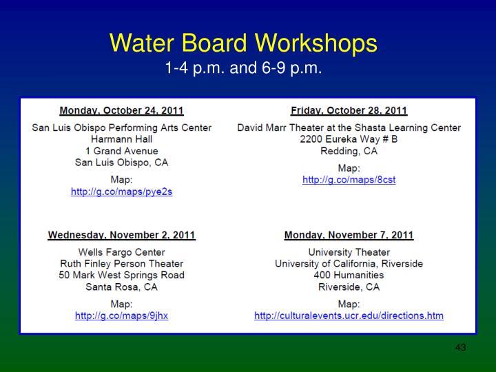 Water Board Workshops