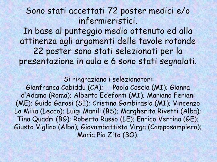 Sono stati accettati 72 poster medici e/o infermieristici.