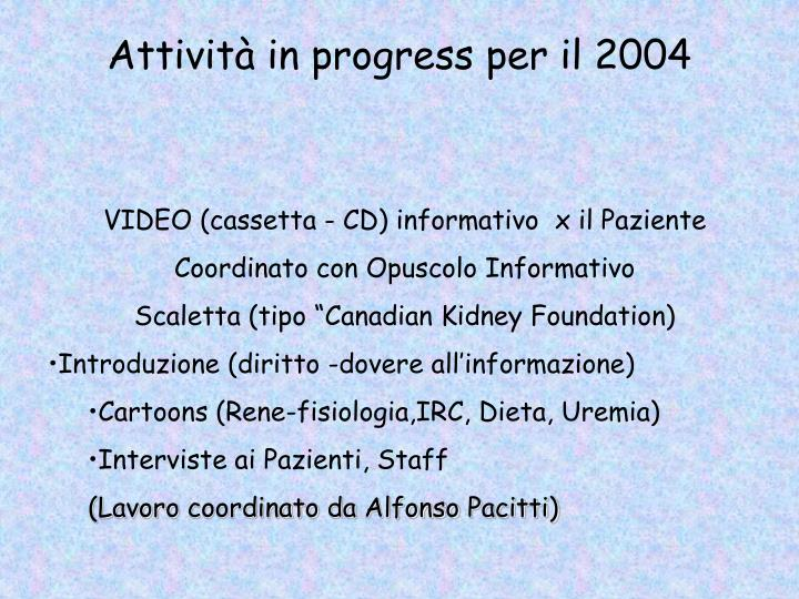 Attività in progress per il 2004