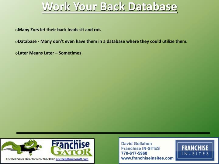 Work Your Back Database