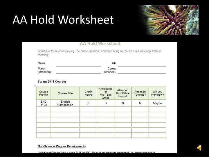 AA Hold Worksheet