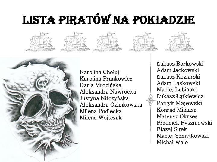 Lista piratów na pokładzie