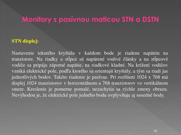 Monitory s pasívnou maticou STN a DSTN