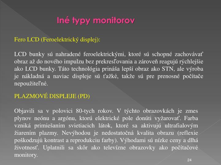 In typy monitorov