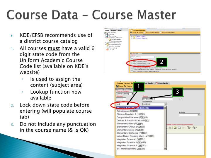 Course Data – Course Master