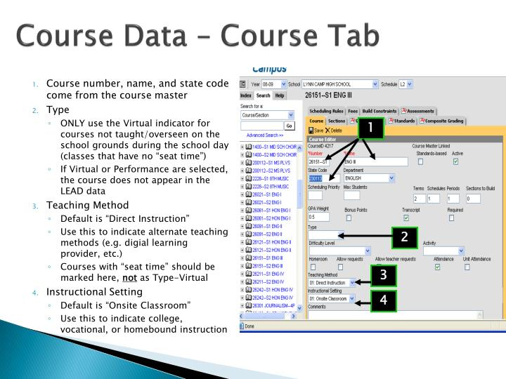 Course Data – Course Tab