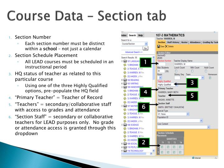 Course Data – Section tab
