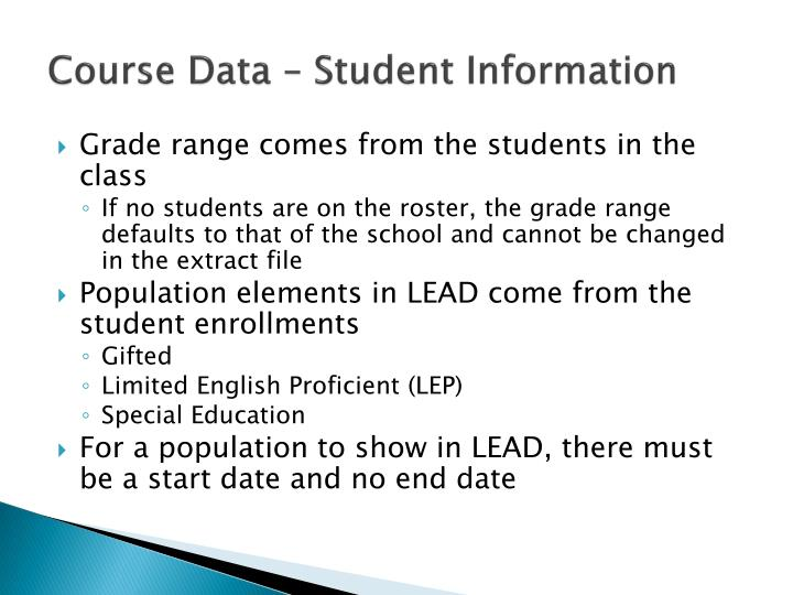 Course Data – Student Information