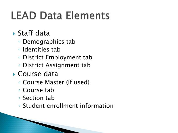 LEAD Data Elements