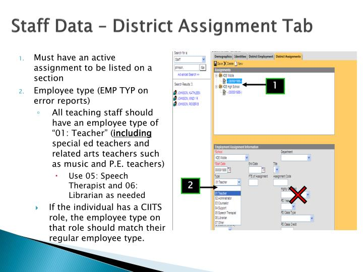 Staff Data – District Assignment Tab