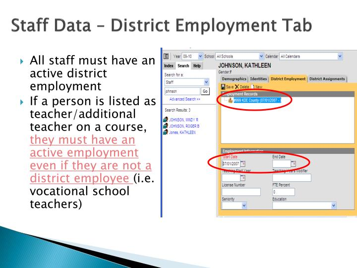 Staff Data – District Employment Tab