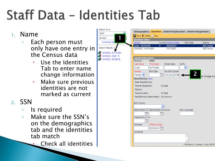 Staff Data – Identities Tab