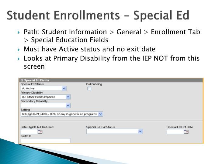 Student Enrollments – Special Ed