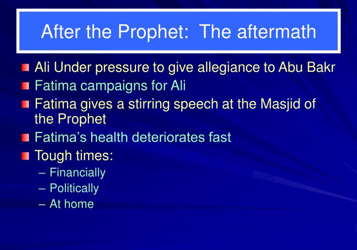After the prophet the aftermath1