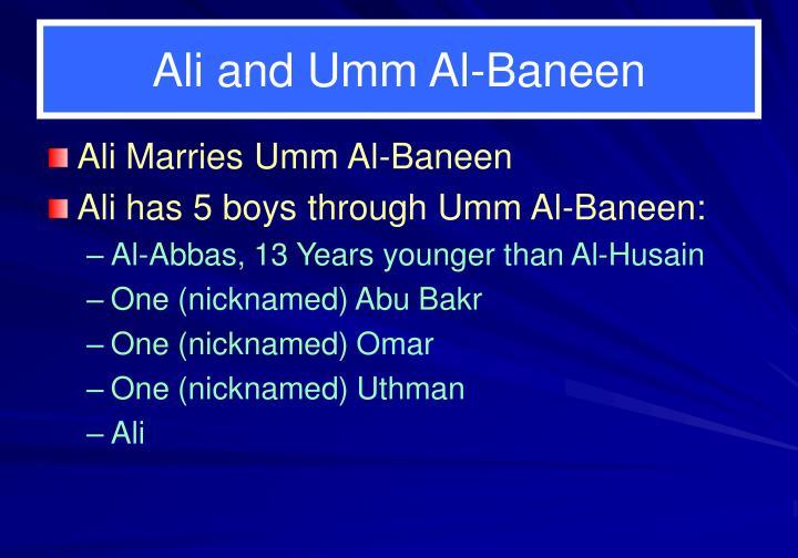 Ali and Umm Al-Baneen