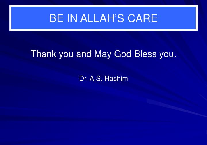 BE IN ALLAH'S CARE