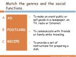 match the genres and the social functions