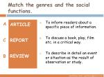match the genres and the social functions1