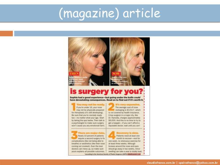 (magazine) article