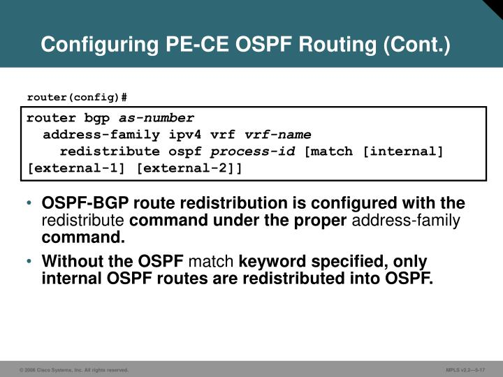 Configuring PE-CE OSPF Routing (Cont.)