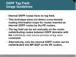 ospf tag field usage guidelines