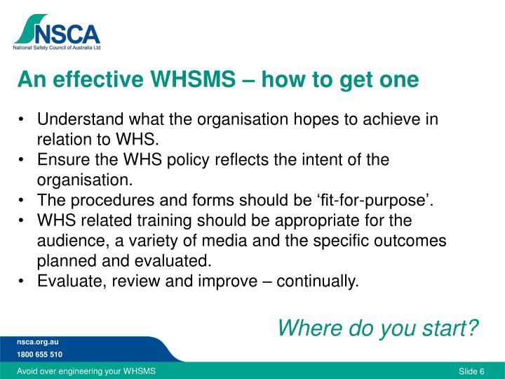 An effective WHSMS – how to get one